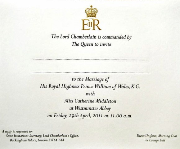 William and Kate's Royal Wedding Invitation Revealed