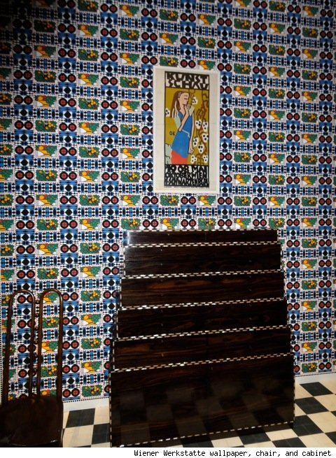 Wiener Werkstatte wallpaper, chair, and cabinet