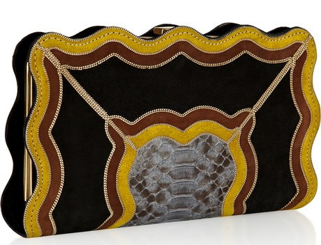 Etro Suede and Snakeskin Clutch
