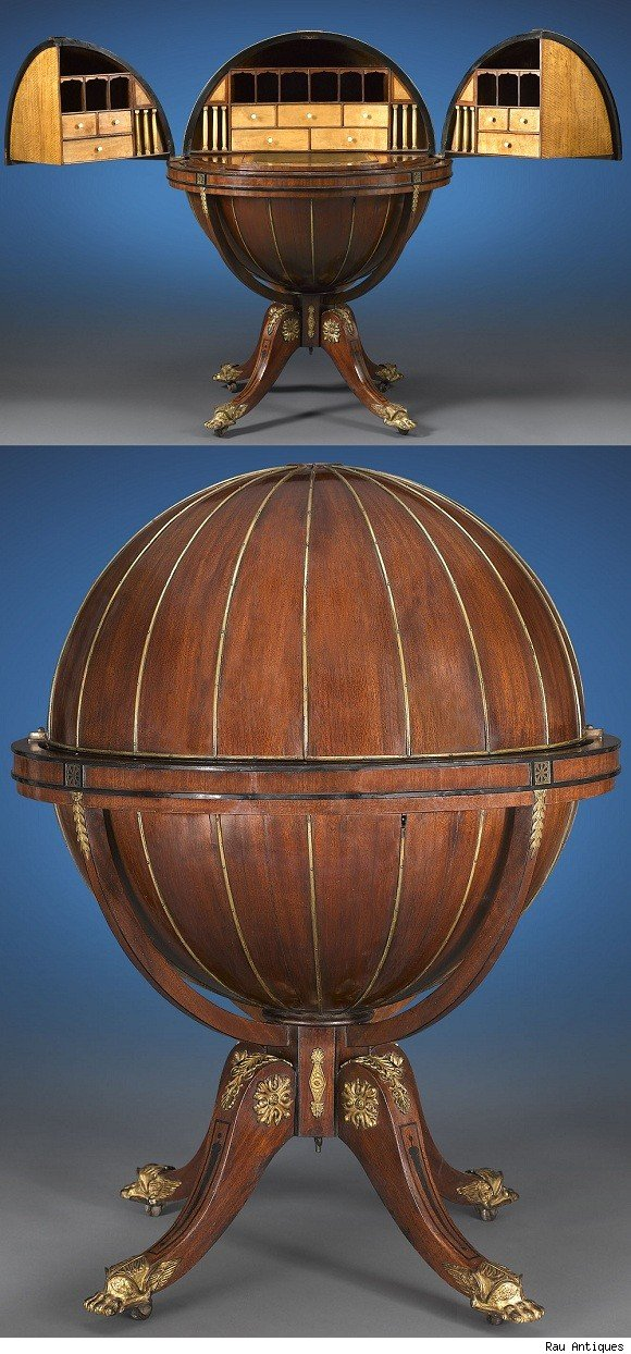 1810 English Globe Writing Desk Offered By Rau Antiques