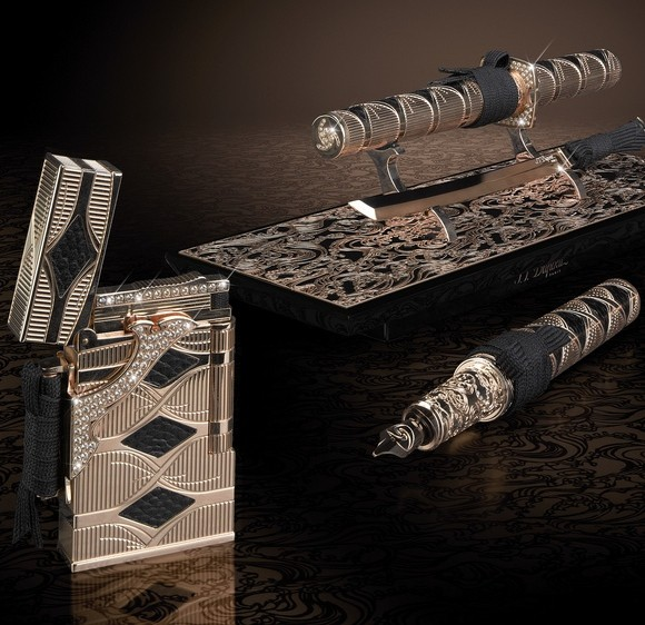 The $66,000 Gold &amp; Diamond Samurai Lighter Set from S.T. Dupont