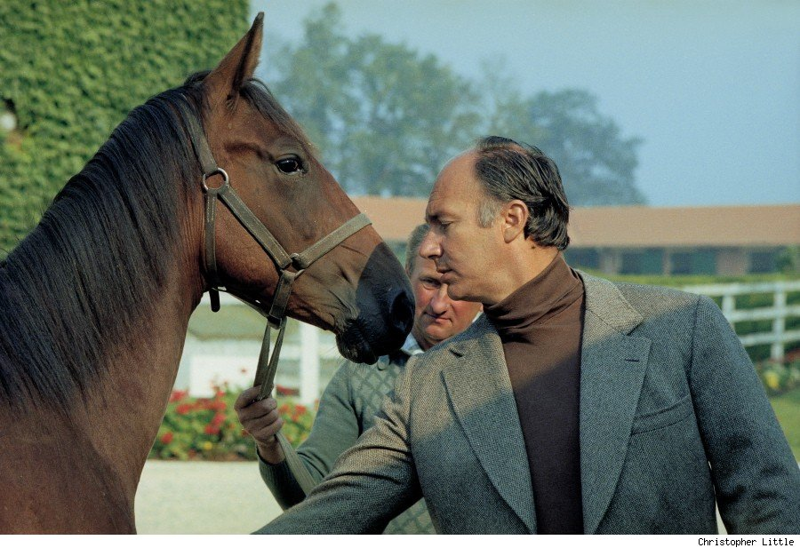 His Highness the Aga Khan inspecting yearlings at St Crespin in Normandy