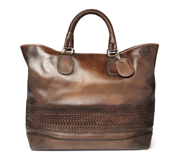 Gucci's Men Woven Leather Holdall