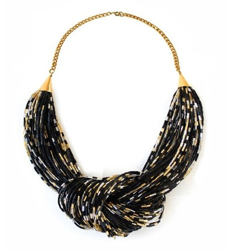 Noir Jewelry Bugle Bead Knot Necklace