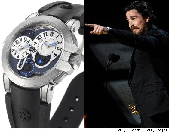 Chistrian Bale Wears Harry Winston Watch At Academy Awards