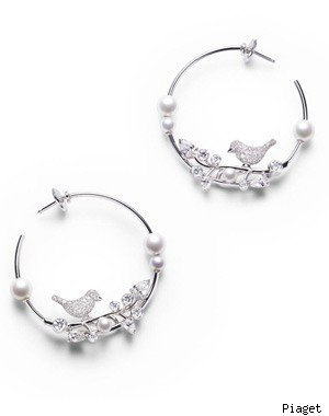 Piaget 18-carat white gold, diamond and pearl earrings