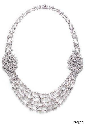Piaget 18-carat white gold, diamond and pearl necklace
