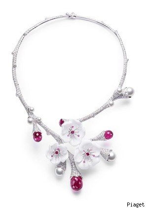 Piaget 18-carat white gold, diamond, pink sapphire, pink tourmaline, white chalcedony and pearl necklace