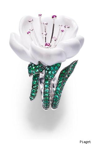 Piaget 18-carat white gold, diamond, emerald, white chalcedony, rubellite and pink sapphire ring