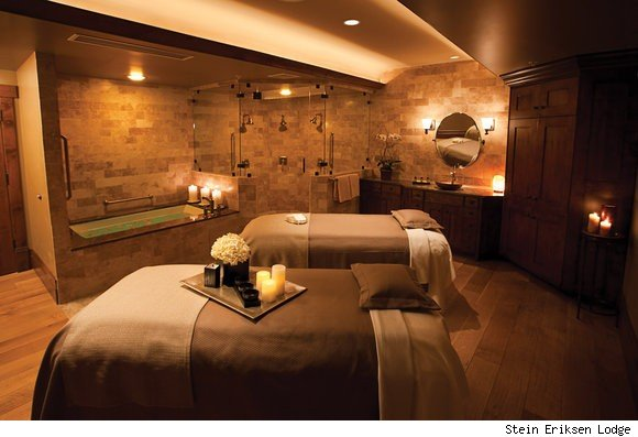 A treatment room for couples at the award-winnning spa at the Stein Eriksen Lodge in Utah