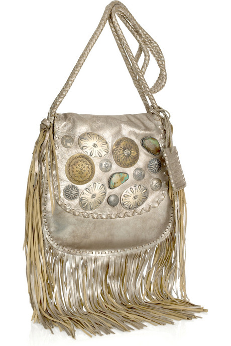 Ralph Lauren Embellished fringed leather shoulder bag