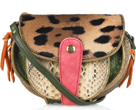 Momo Small calf hair and python shoulder bag