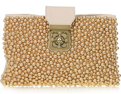 Chloe Elsie Beaded Leather clutch