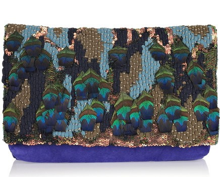 Matthew Williamson Appliquéd suede clutch