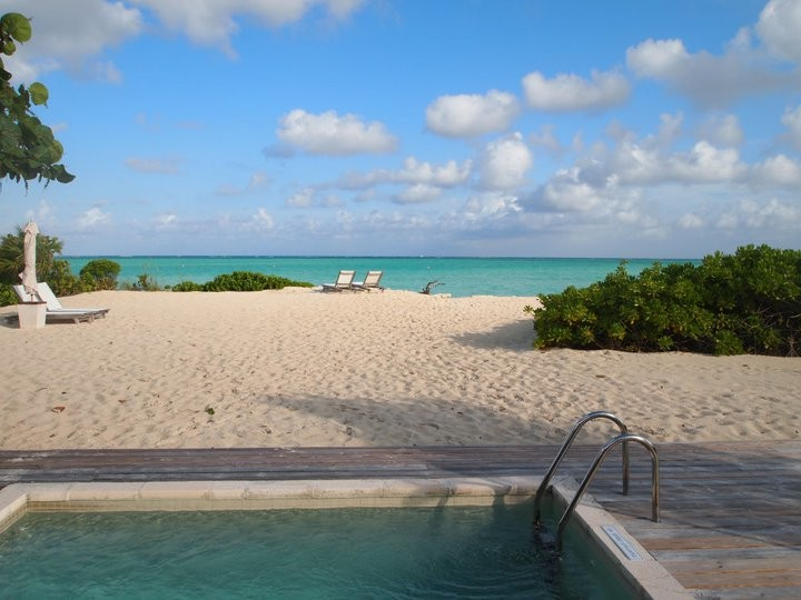 Pool and beach from Parrot Cay villa