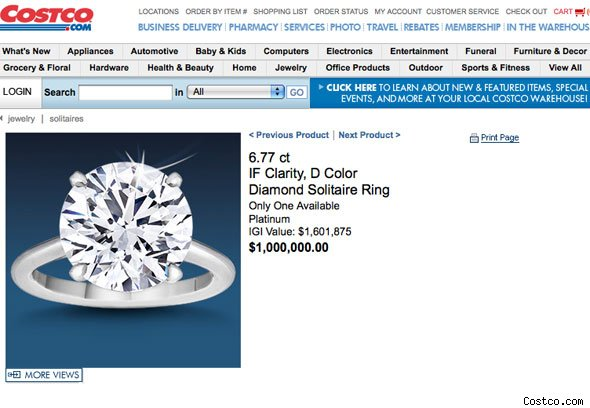 Costco $1 million dollar ring