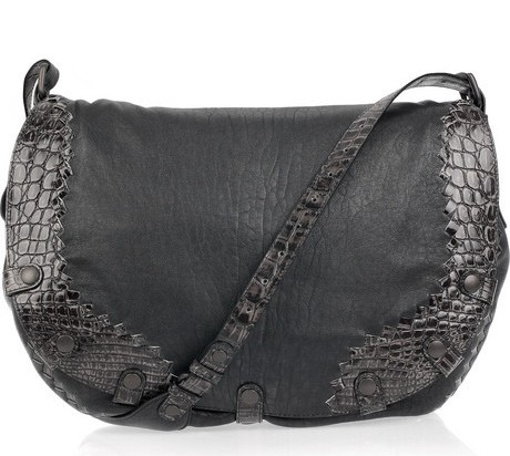 Bottega Veneta Crocodile-effect leather messenger bag