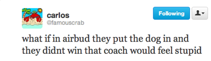 funny tweets, funniest tweets, airbud dog coach stupid
