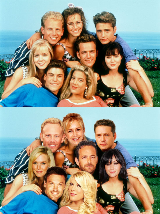 Funny photos, before and after, movie poster, Beverly Hills 90210