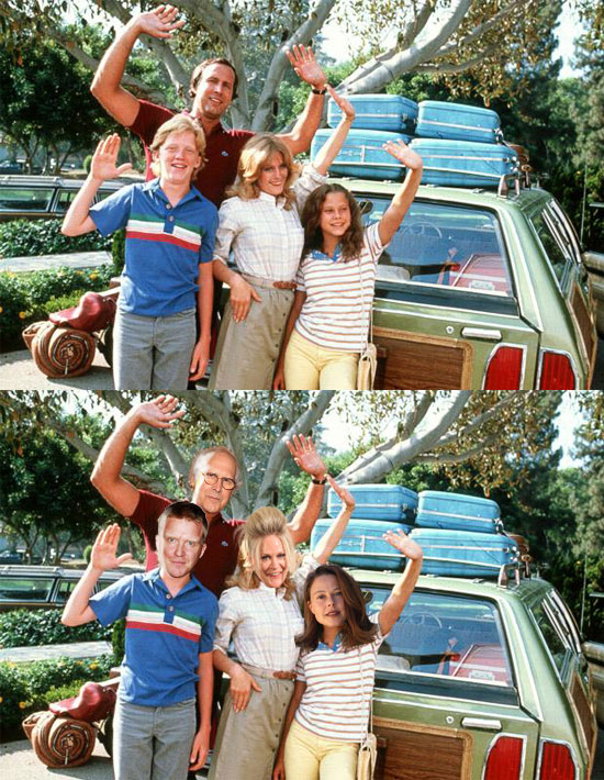 Funny photos, vacation, chevy chase, before and after, movie poster