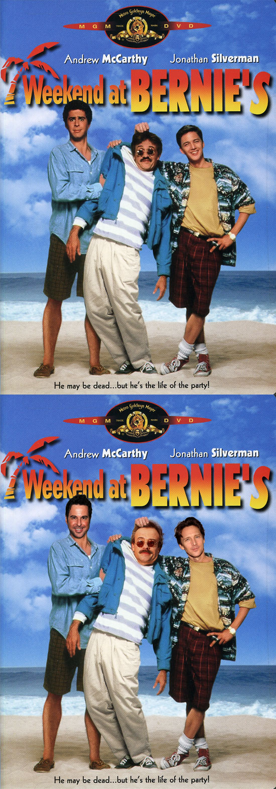 Funny photos, before and after, movie poster, Weekend and bernie's