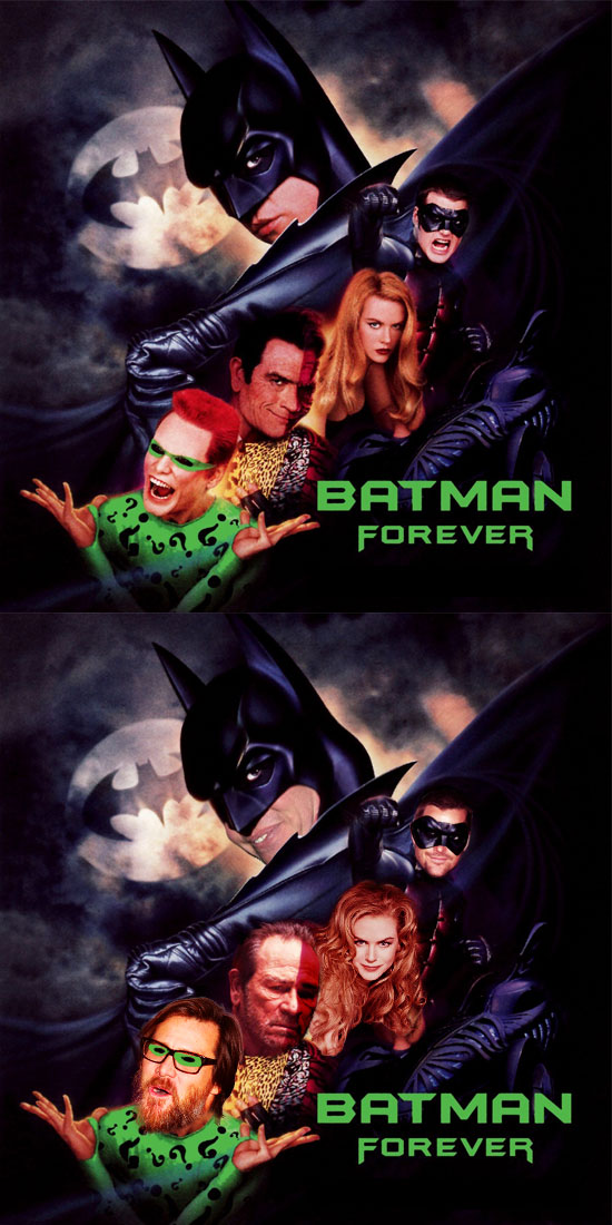 Funny photos, before and after, movie poster, Batman Forever, Val Kilmer, Jim Carrey