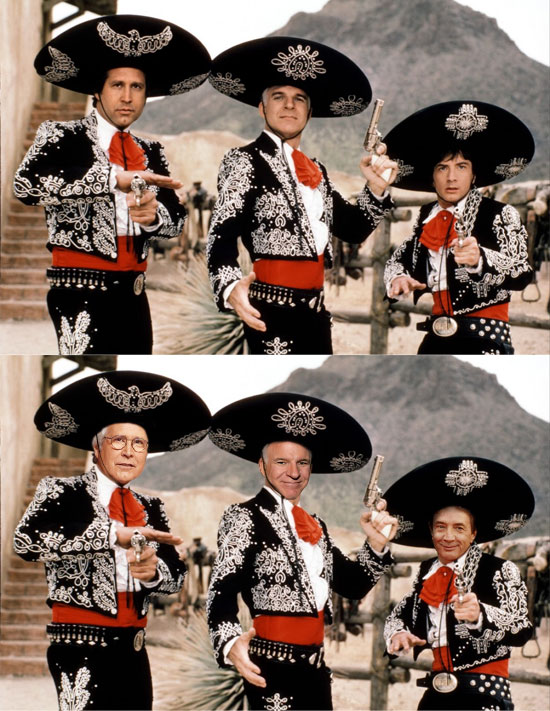 Funny photos, before and after, movie poster, Three Amigos, Chevy Chase, Steve Martin, Martin Short