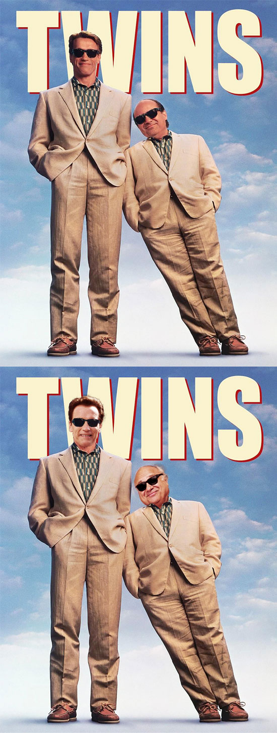 Funny photos, before and after, movie poster, Twins, Danny DeVito, Arnold Schwarzenegger