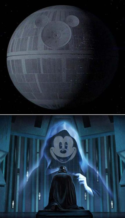 Disney, Star Wars, Disney Star Wars merger, funny meme, death star mickey mouse, mickey emperor vader kneeling