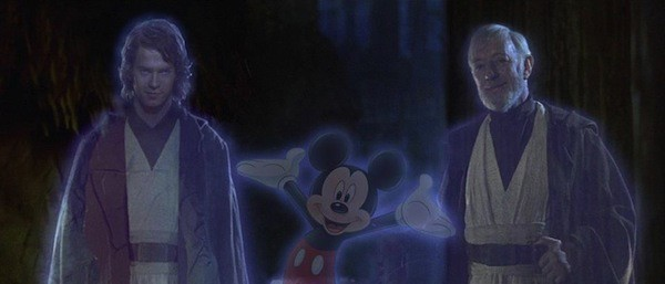 Disney, Star Wars, Disney Star Wars merger, funny meme, mickey jedi ghost obi wan