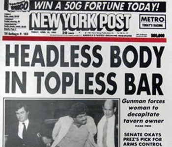 New York Post, headless body in topless bar