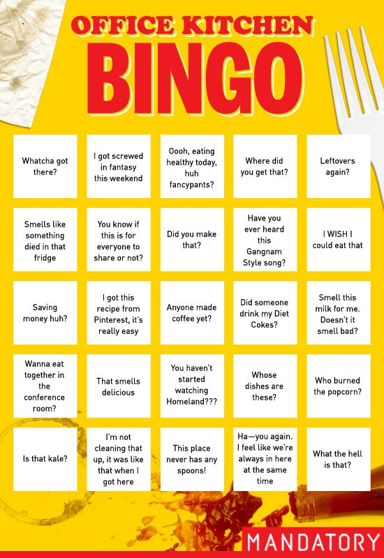 office kitchen bingo, office kitchen, conversations, funny