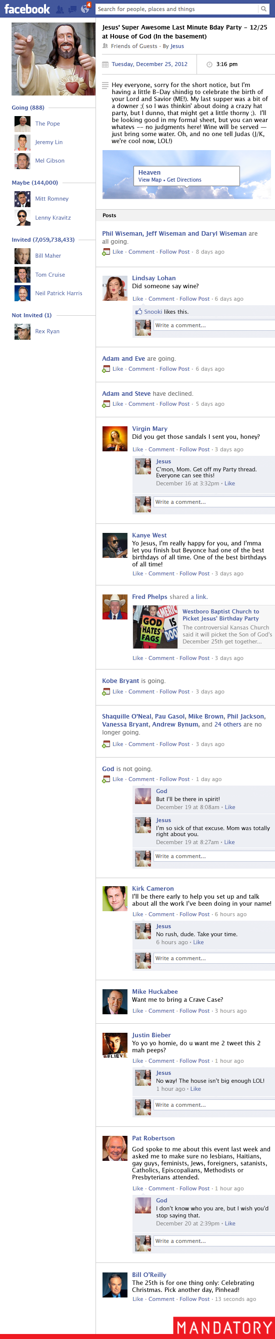 jesus birthday facebook event, god, westboro baptist church, heaven, mitt romney