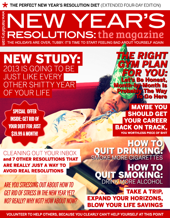 new year's resolutions: the magazine, new year's resolutions, diet, gym