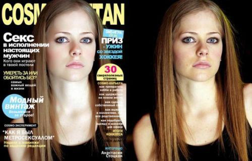 celebrities before and after photoshop, Avril lavigne