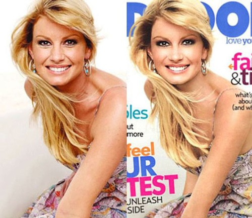 celebrities before and after photoshop, Faith Hill