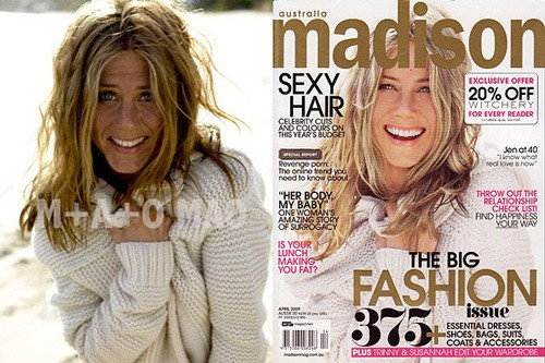celebrities before and after photoshop, Jennifer Aniston