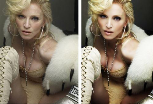 celebrities before and after photoshop, Madonna