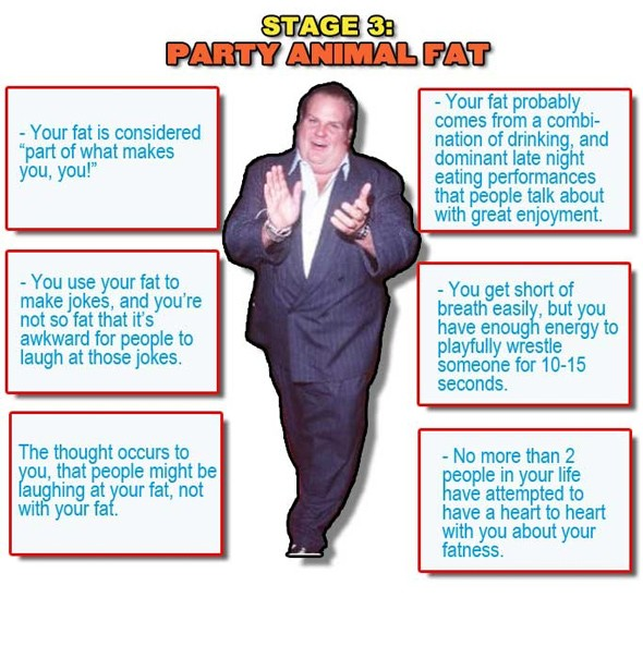 third stage of being fat, funny fat guy, party animal fat