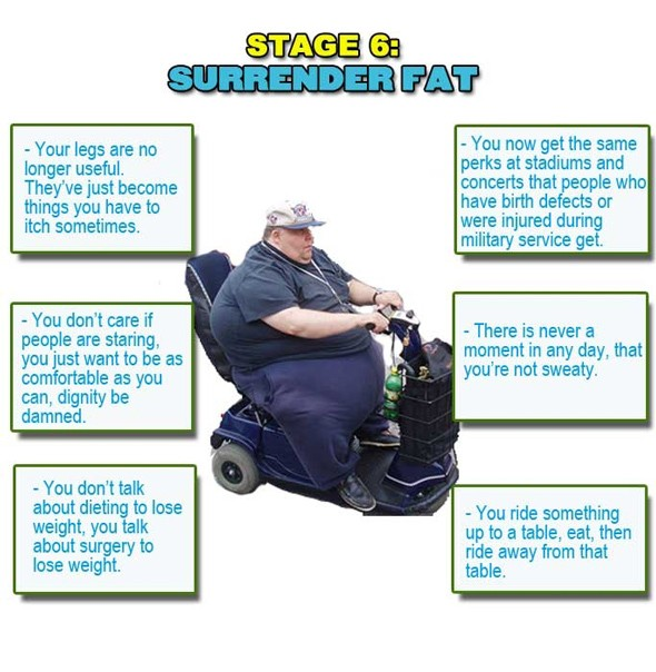 surrender fat, wheelchair fat, rascal riding fat, sixth stage of being fat