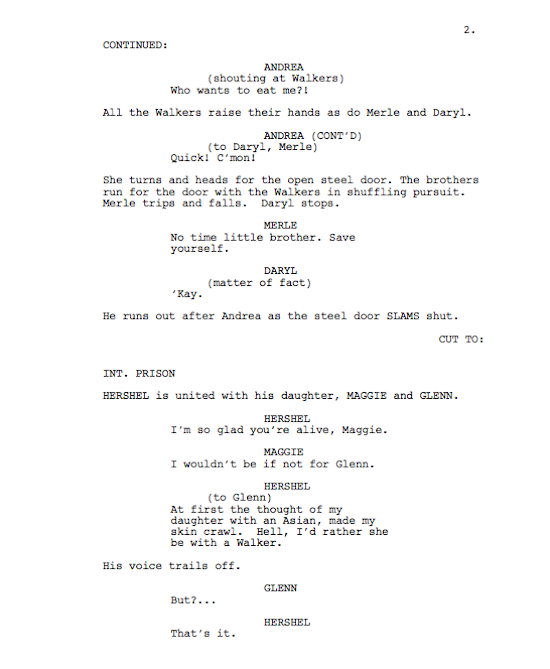 AMC, The Walking Dead. leaked script