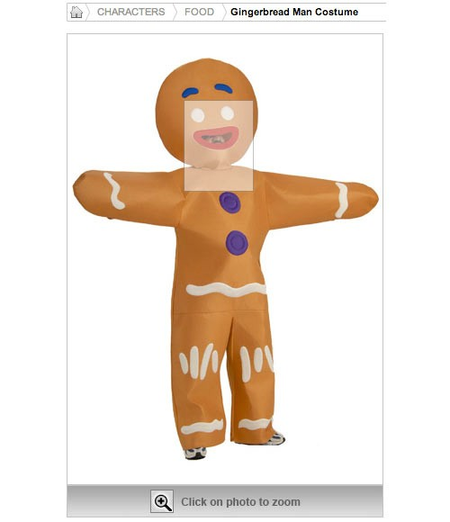 gingerbread man costume funny face