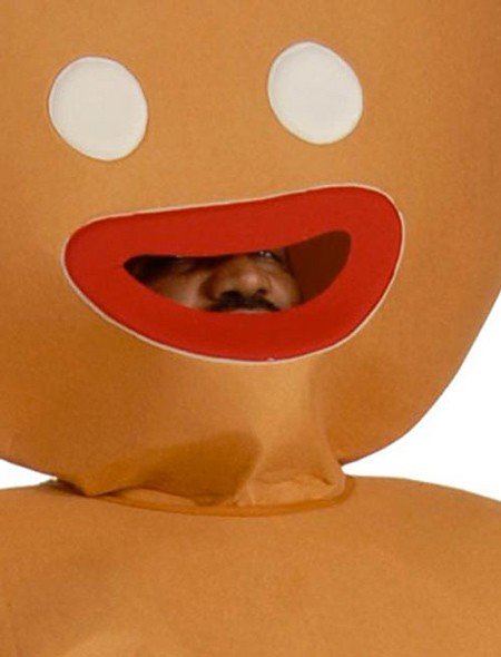 gingerbread man costume close up funny black guy