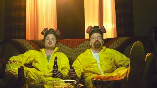 breaking bad walt and jesse, hazmat suits, drinking beers