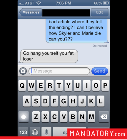 breaking bad, spoilers, fake spoilers, texts