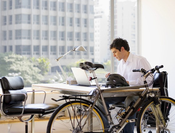 bike in office, bicycle businessman