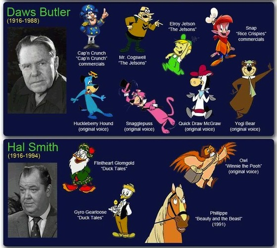 daws butler, hal smith, famous voice actors