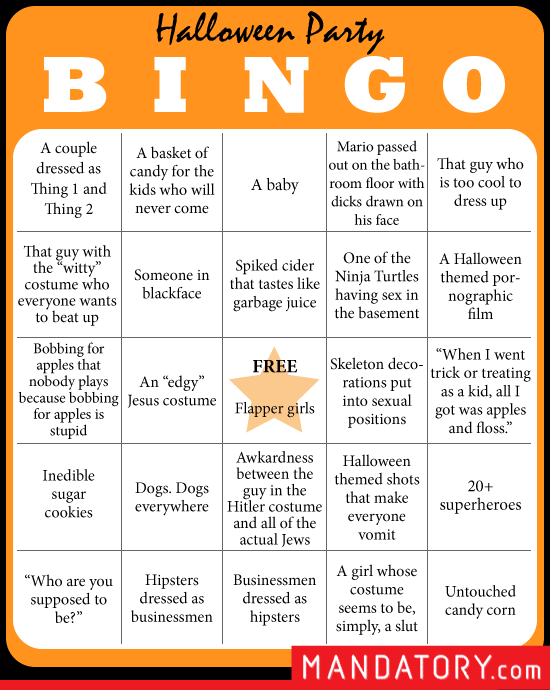 Halloween Party Bingo Mandatory