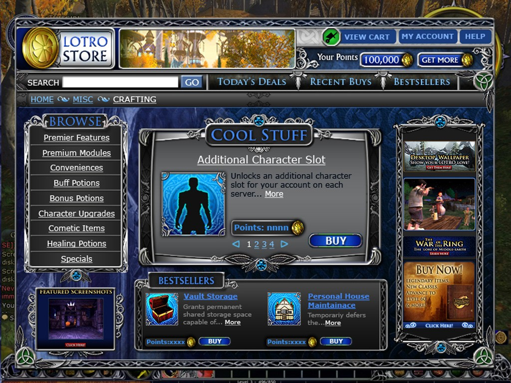 LORD OF THE RINGS ONLINE STORE
