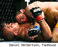 Jon Fitch on top of BJ Penn at UFC 127.